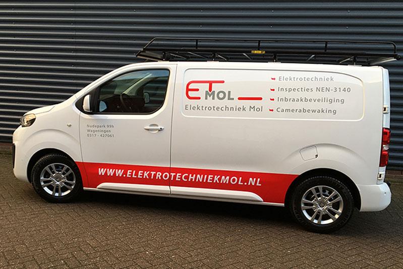 Autobelettering – Elektrotechniek Mol