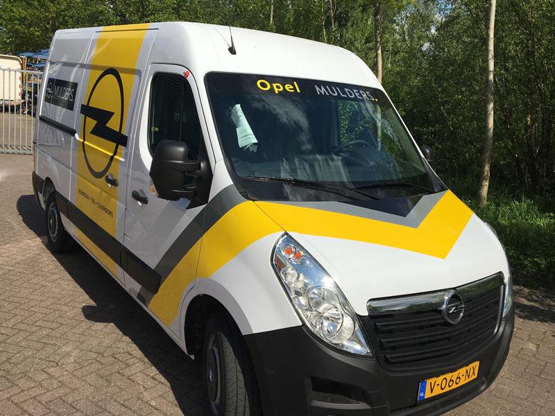 Autobelettering voor Opel Mulders